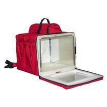Mochila Termica Para Entregas 45 Litros Com Isopor vermelha Bolsa Entregador revestida de aluminio - Bag Bolsas