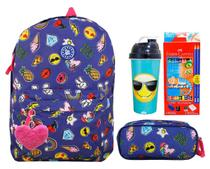 Mochila Unicórnio Escolar Juvenil Emoji Patches Mf8108 + Kit - Clio style