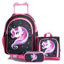 Mochila Unicornio Rodinhas Brilho Pink Glitter Lancheira Estojo Kit - Outras