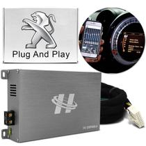 Módulo Amplificador Hurricane H1-DSP400.4 400W RMS 4 Canais 4 Ohms + Chicote Plug and Play Peugeot -