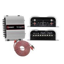 Módulo De Potência Taramps TS400 Digital 400W RMS 4 Canais 2ohms + Cabo RCA Alta Performance 5M Evus -