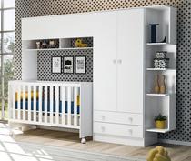Módulo Infantil com Guarda Roupa 2 Portas e 2 Gavetas e Berço Mini Cama Americano Branco Doce Sonho - Qmovi -