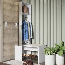 Módulo para Closet com Espelho Cabideiro e Banco Flow Be Mobiliário Branco -