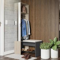 Módulo para Closet com Espelho Cabideiro e Banco Flow Be Mobiliário Espresso/Aveiro -