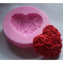 Molde de silicone coração para decorar f58 - Confeitaria Dos Moldes