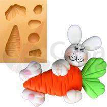 Molde de Silicone para Biscuit Casa da Arte - Modelo: Coelho com Cenoura Grande 1166 -