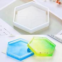 Molde De Silicone Resina Hexagonal Porta Copos Quadros - L&B Decorações