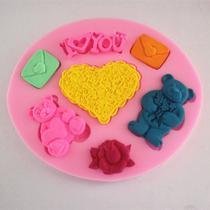 Molde de silicone urso coração para decorar f453 - Cm