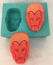 Molde Forma Silicone Sabonete Vela Biscuit Resina - Rosto Homem De Ferro 2 Cavidades - Decore Artesanatos Sp