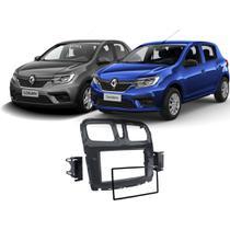 Moldura 2 Din painel porta objetos Renault Logan e Sandero 2015 até 2020 Black Pianno Expex EPX482 JP/CH -