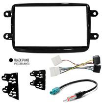 Moldura + Chicote Ligação + Adaptador Antena Renault Duster Kwid Sandero Logan Oroch - Black Piano - Autoplast