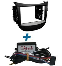 Moldura de Painel 2 Din Hyundai HB20 + Interface Comando de Volante - Adaptador Para Cd / Dvd Player - Eatech