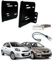 Moldura De Painel Para CD DVD 2 Din Nissan March / Versa - 2012 2013 2014  - acoplado c/  suportes - Autoplast