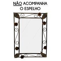 Moldura Espelho Rustica de Ferro de Parede com Flores Artesanais - Libertas Rosas Artesanato