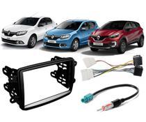 Moldura Painel 2 Din Com Chicote Ligação e Adaptador Antena Renault Sandero Logan Captur - Autoplast