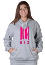 Moletom Cinza Claro BTS Feminino com Capuz Bolso Canguru Blusão estampado Rosa Neon Pink - Suffix