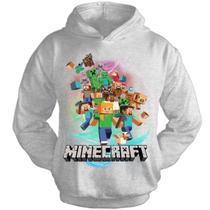 Moletom Infantil Cinza Mescla - Minecraft Turma - Visuarte