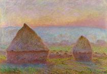 Montes de Feno em Giverny ao Pôr do Sol (1889) - Claude Monet - 30x44 - Tela Canvas Para Quadro - Santhatela