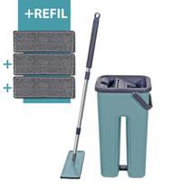 Mop Flat Tira Pó Esfregão Com Balde Lava E Seca Mopwash + Refil Extra Microfibra -
