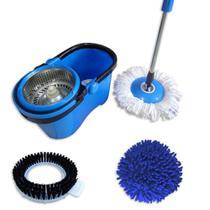 Mop Giratório 3 em 1 Inox Refil Microfibra + Refil Tira Pó + Refil Limpeza Pesada Perfect -