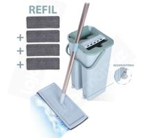 Mop Rodo Flat Esfregão Wash And Dry Tampa Vazao De Agua + Refil Extra - WashDry