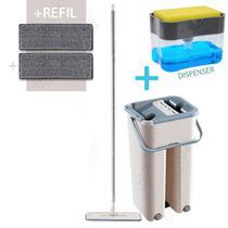 Mop Rodo Flat Tira Pó Esfregão Kit Wash Dry C/ Tampa Vazao De Agua + Refil Extra - Ami