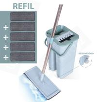Mop Rodo Flat Tira Pó Esfregão Wash And Dry C/ Tampa Vazao De Agua+ Refil Extra - Washdry