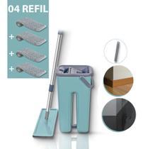 Mop Rodo Tirá Pó Esfregão Com Balde Flat Wash And Dry + refil Extra - Mopwash - Ud1