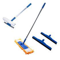 Mop Tira Pó + 2 Rodos Borracha Dupla + Rodo Limpa Vidros - Vendasshop utensilios de limpeza