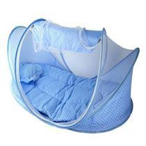 Mosquiteiro Tenda Berço Portatil Acolchoado C/ Ziper Azul Mosqueteiro - Happy baby