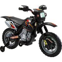 Moto Cross Preta Elétrica Infantil 6V - Belfix - Bel brink