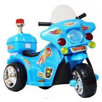 Moto Elétrica Infantil Azul Com Luzes Efeitos Sonoros E Bau 6V Certificado Inmetro - Iw