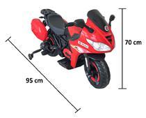 Moto Elétrica Infantil BZ R1 12V Vermelha com Rodinhas de Apoio, Música e Luzes BARZI MOTORS -