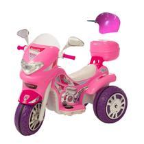 Moto eletrica infantil fashion sprint turbo pink com capacete e baú - Biemme
