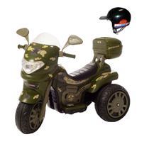 Moto eletrica infantil grande sprint turbo militar c/ capacete - Biemme