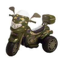 Moto Elétrica Infantil Sprint Grande Militar C/ Capacete 12v - Biemme