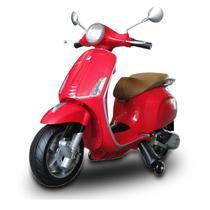 Moto Elétrica Infantil Vespa Primavera Vermelha Com Rodinhas de Apoio Lateral 12V - Bel fix