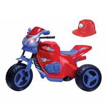 Moto eletrica max turbo vermelha 6v com capacete - Magic Toys