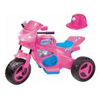 Moto eletrica meg turbo c/ capacete rosa 6v - magic toys -