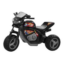 Moto eletrica preta max turbo com capacete 6v - magic toys -