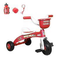 Motoca Triciclo Infantil Vermelho Styll Com Acessórios -