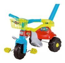 Motoca Triciclo Ticotico Festa Bebê Cestinha Azul  Menino E Menina c/ Haste e Protetor 2560L - Magic Toys