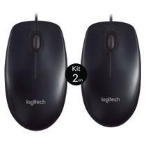 Mouse Logitech USB Preto M90 - Kit c/ 2 Unidades -