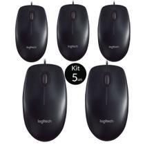 Mouse Logitech USB Preto M90 - Kit c/ 5 Unidades -