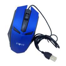 Mouse Óptico Com Fio USB 800Dpi Inova MOU-6935 Azul Preto - INOVA BLISTER -