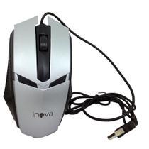 Mouse Óptico Com Fio USB 800Dpi Inova MOU-6935 Cinza Preto - INOVA BLISTER -