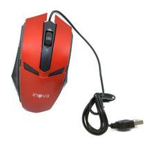 Mouse Óptico Com Fio USB 800Dpi Inova MOU-6935 Vermelho Preto - INOVA BLISTER -