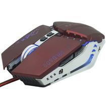 Mouse Óptico Gamer Usb 2400 Dpi 6 Botões Led Rgb 4 Cores Cabo Infokit X Soldado GM-705 Vinho -