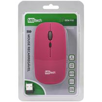 Mouse Óptico Sem Fio Recarregável - Silencioso Slim Usb 3.0 Rosa - MBTech