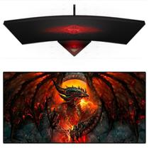 Mouse Pad Gamer Extra Grande Barato 90x40cm Speed Estampa Dragao de Fogo Mousepad Exbom MP-9040A01